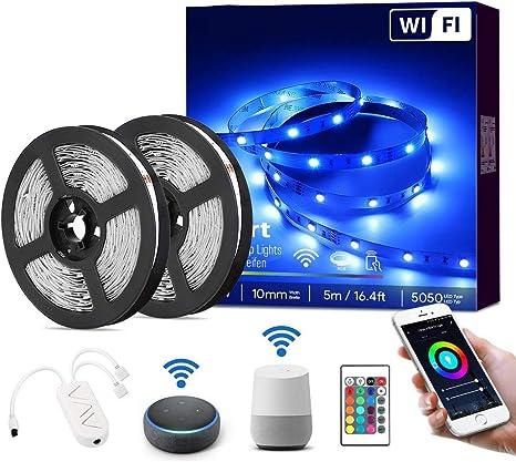 DOOK Tiras LED RGB WiFi 5M 5050 SMD Tira de Luces Colores Inteligente Funciona con Alexa Móvil Google Home,Multi-Modos para Navidad,TV,Dormitorio,Fiesta y Decoración,32.8ft: Amazon.es: Deportes y aire libre