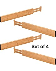 Bamboo Drawer Organiser Storage Dividers 4 Pack Set - Expandable Divider For Bedroom Dresser Draw & kitchen Draw. Adjustable Wooden Separators Ideal For Cutlery, Utensil, Underwear, Sock, Clothes