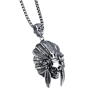 Buy UM Jewelry Gothic Stainless Steel Native American Indian Skull Pendant  Necklace for Men Black Silver Online at Low Prices in India  bf433f98917