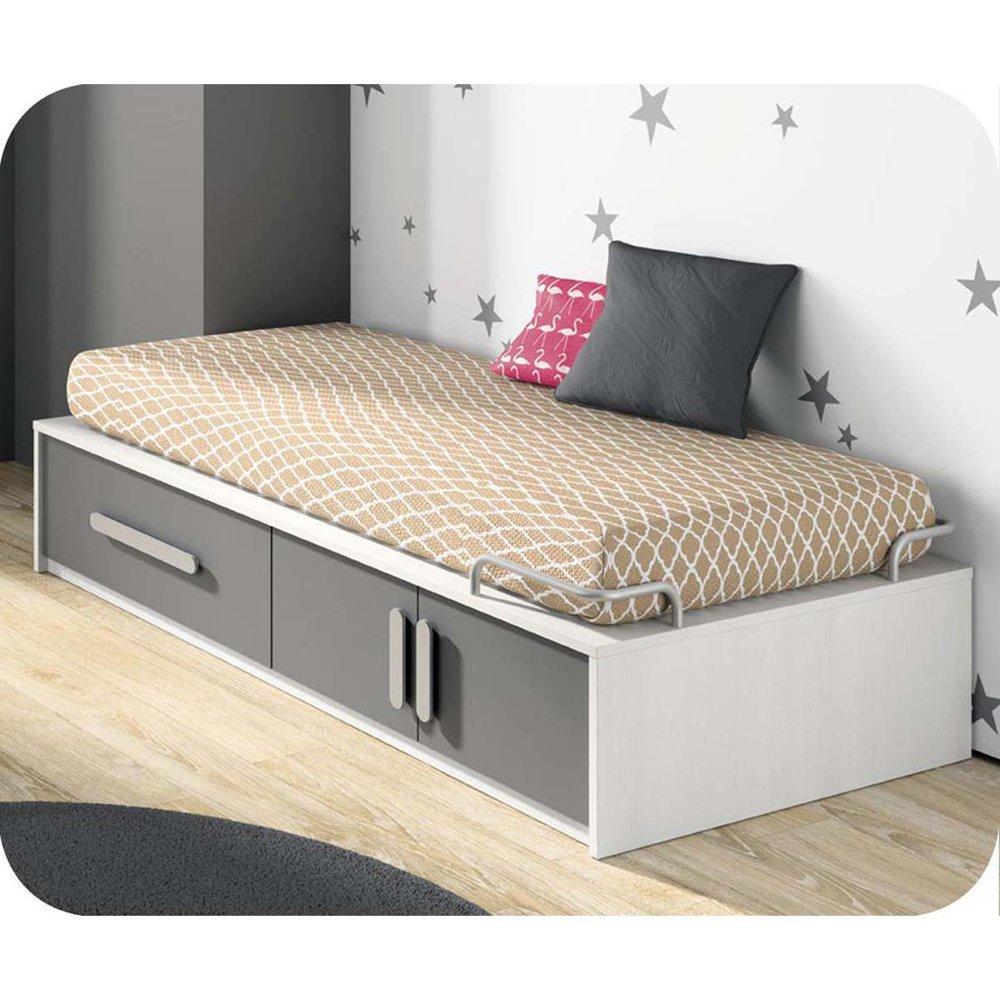 Paket Kinderbett Planet weiß und Anthrazit grau 90x190cm mit Matratze