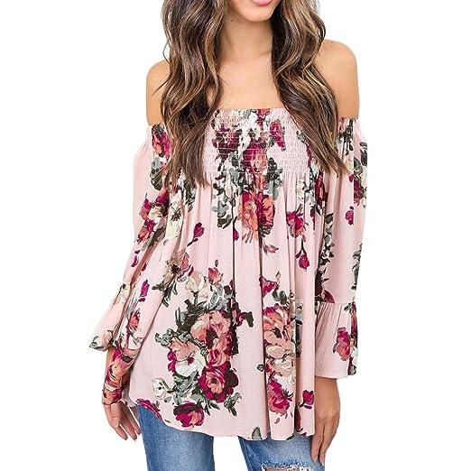 6dc2a9db8e94ff Bravetoshop Plus Size Off Shoulder Sexy Fashion Women Blouse Floral Print  Tops Flare Sleeve Shirt (