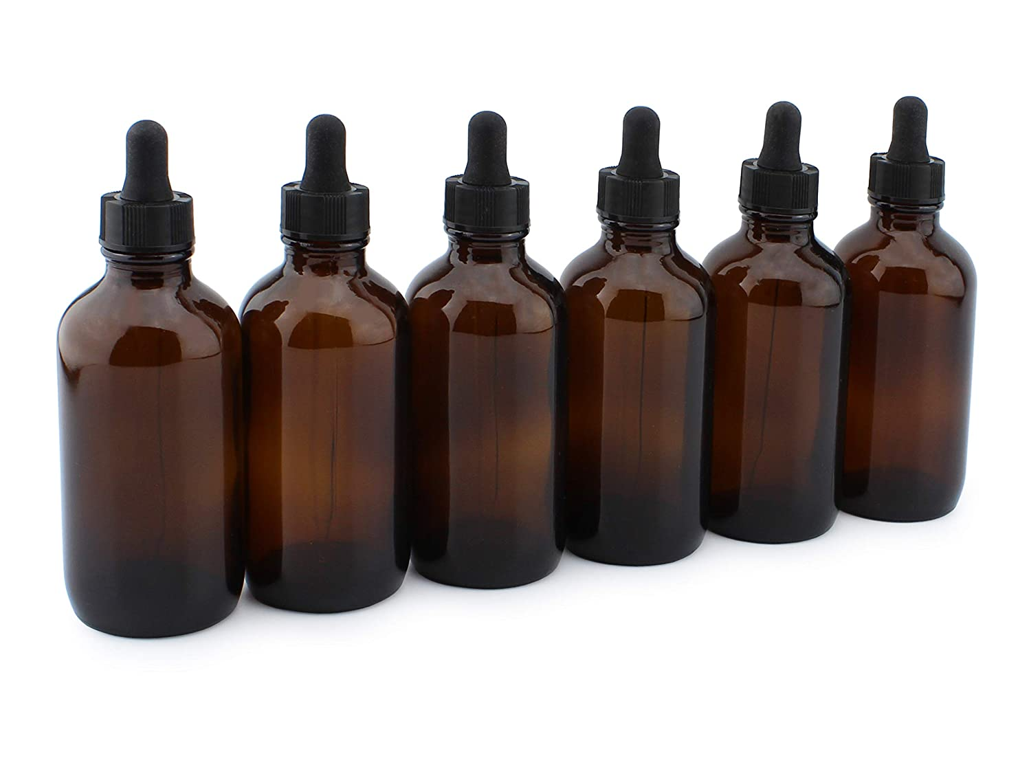 4oz Amber Glass Dropper Bottles (6-Pack), Refillable Glass Bottles for Essential Oils, Cosmetics, and Cooking