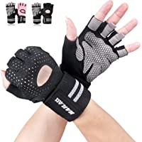 Gym Gloves - SLB Training Gloves with Full Wrist Support, Palm Protection and Extra Grip, Breathable Sport Gloves, Great for Weight lifting/Cross Fit Training/Cycling(Suit for Men & Women)