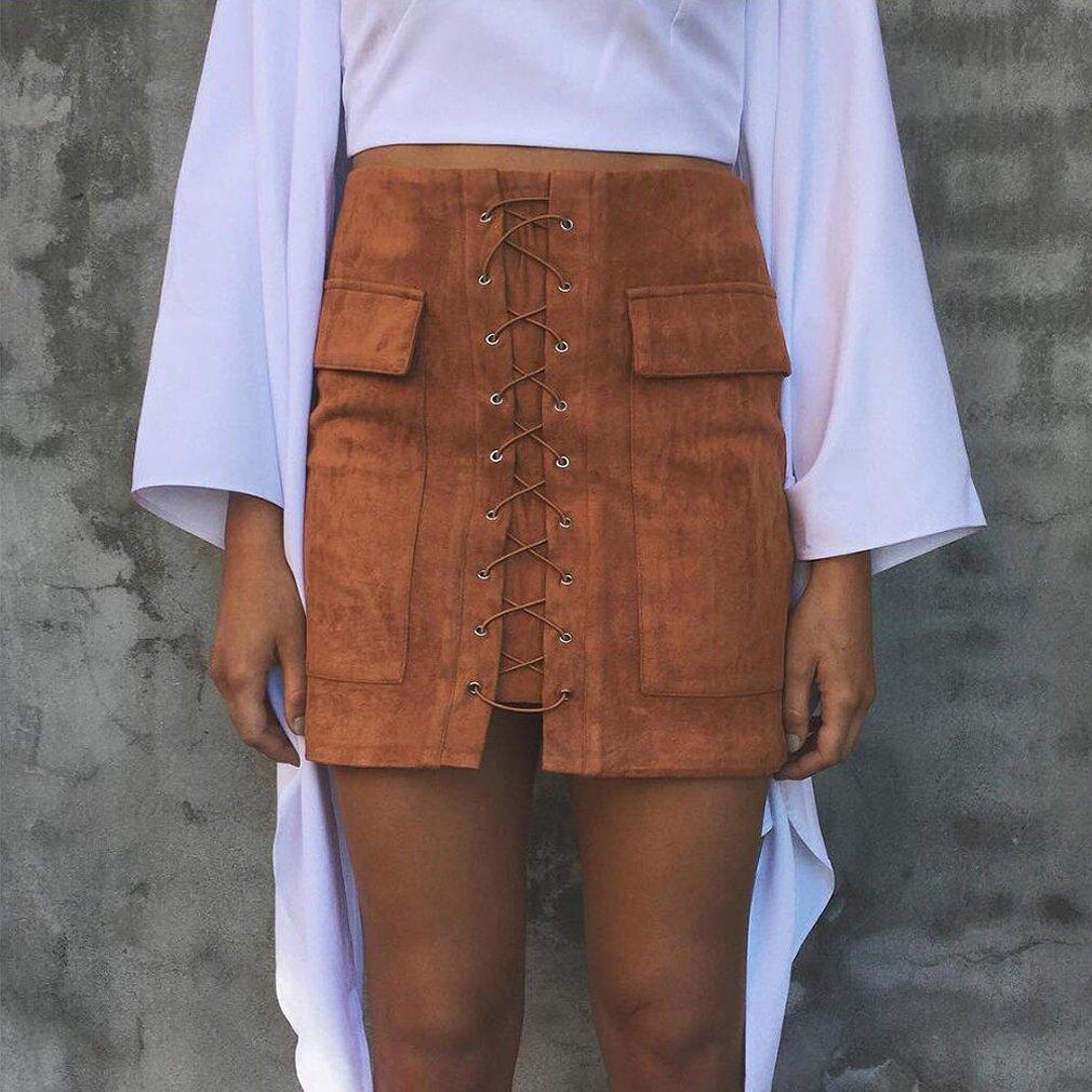 LnLyin Einfach Stil Damen Rock Tasche Wildleder Paket Hüfte Half Length Rock Herbst und Winter