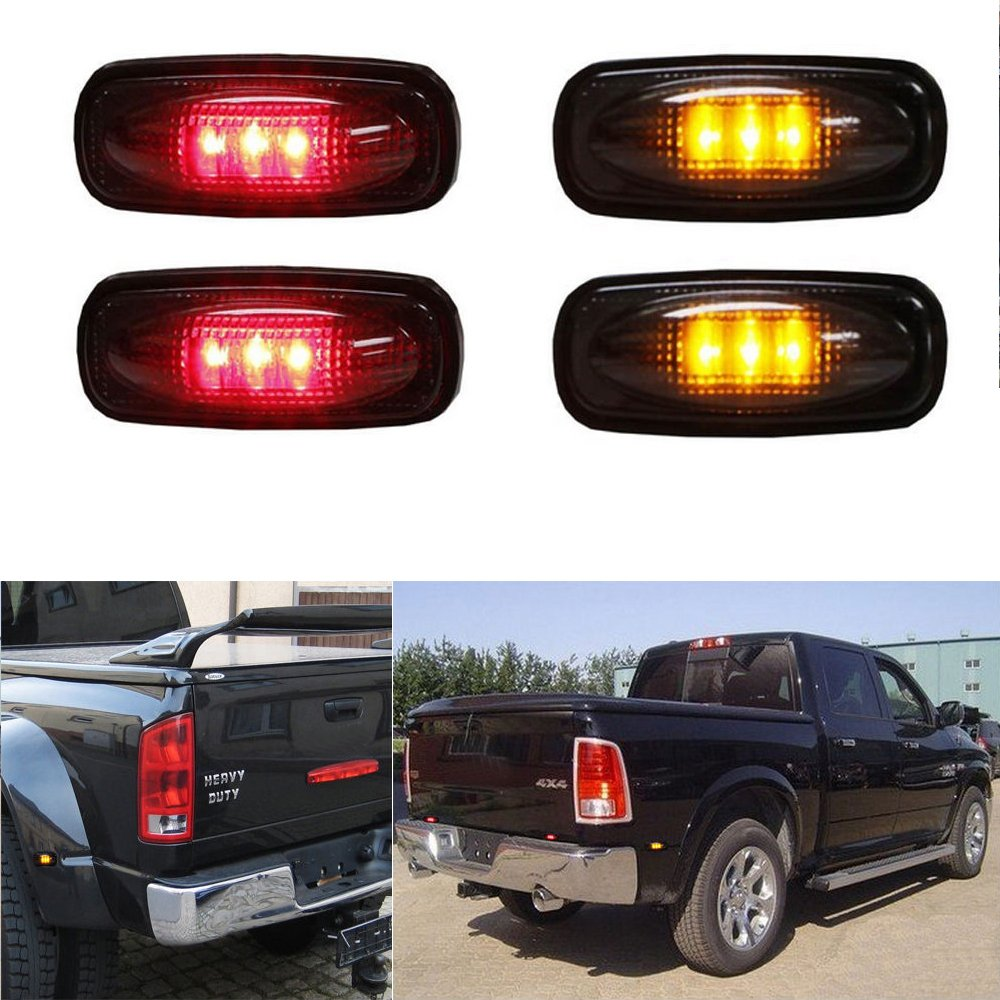 YUK (4) Smoked Lens LED Fender Bed Side Marker Lights Set For Dodge RAM 2500 3500 HD Truck (2 x Amber, 2 x Red)