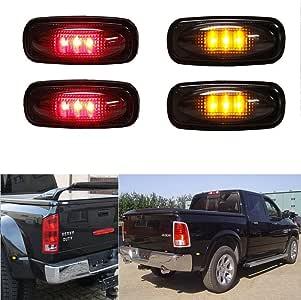 4PCS 5Led Colorful Lens Dual Cab Bed Fender LED Side Marker Lights For 2010-2017 Dodge Ram 2500 3500 2x Amber, 2x Red