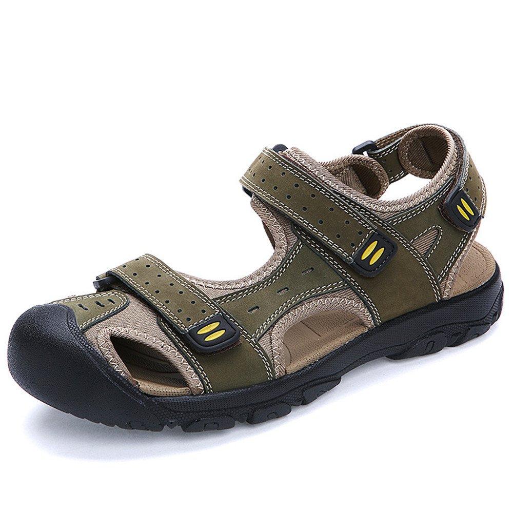 QXH Chaussures de Plage, Sandales pour Hommes à Tête Ronde en Cuir Velcro Respirante,Light Brown,41