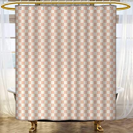 Geometric Fabric Shower Curtains Pale Salmon Colored Chess Table Like Modern Pink Color Squares Artwork Print