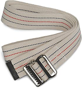 "Medline MDT828203 Cotton Gait Transfer Belts with Metal Buckle, Latex Free, 2"" x 60"" Size (Pack of 6)"