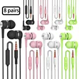 Heavy Bass Earphone Color Call with Mic Stereo Earbud Headphones Mixed Colors Black + White + Pink + Green 8 Pairs