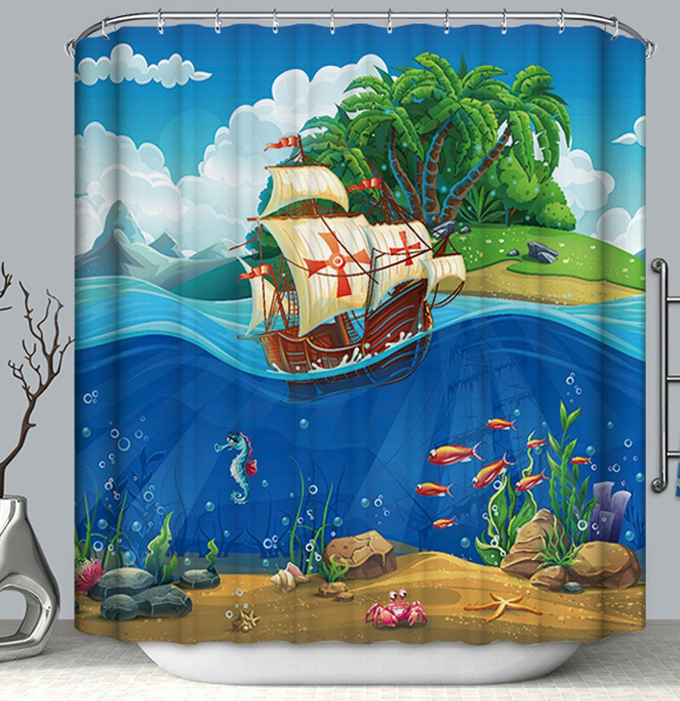 Pirate Ship Island Fish Kid Boy Child Fabric Shower Curtain 70x70 Colorful Ocean unbranded