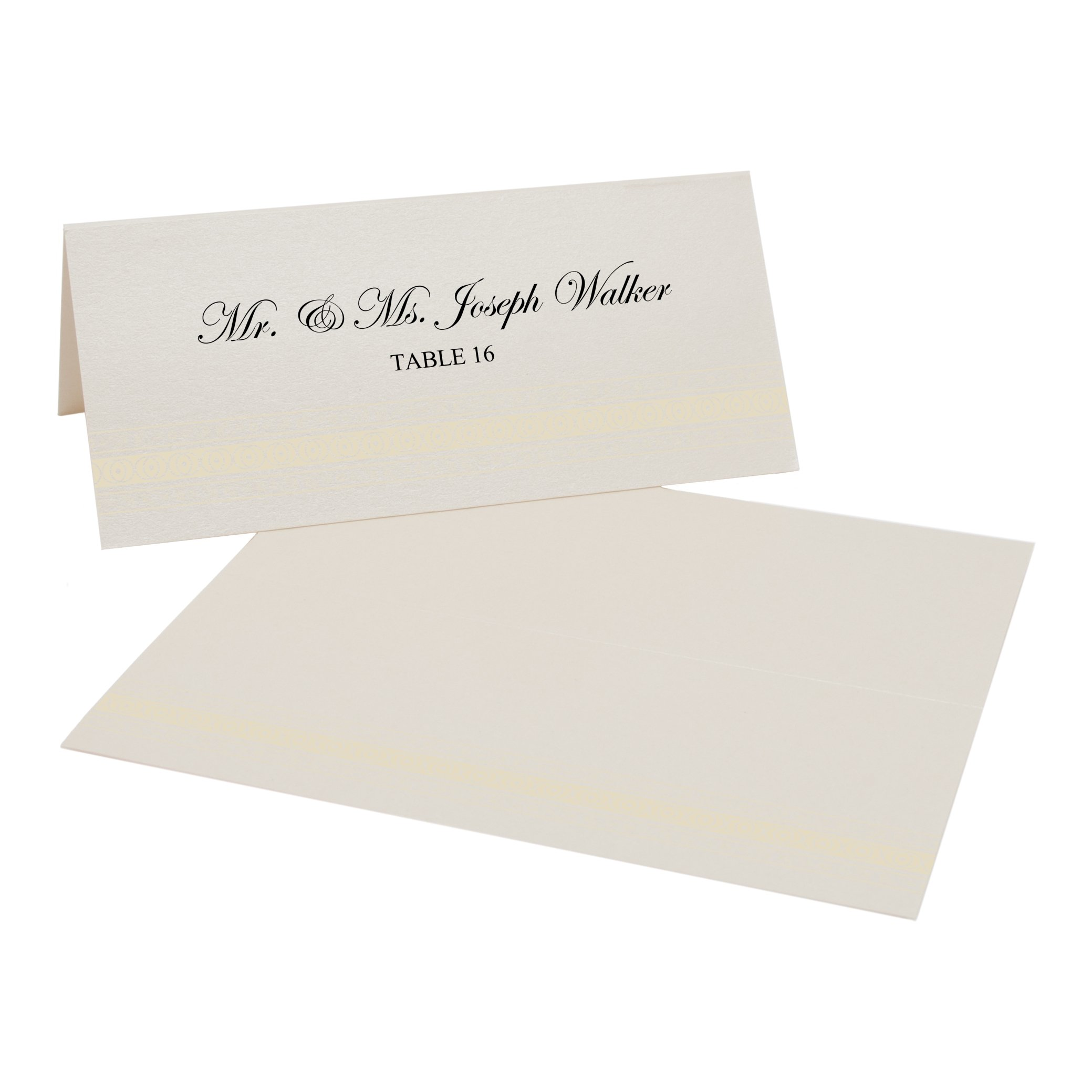 Mumbai Inspired Border Easy Print Place Cards, Champagne, Ivory, Set of 350 (88 Sheets)