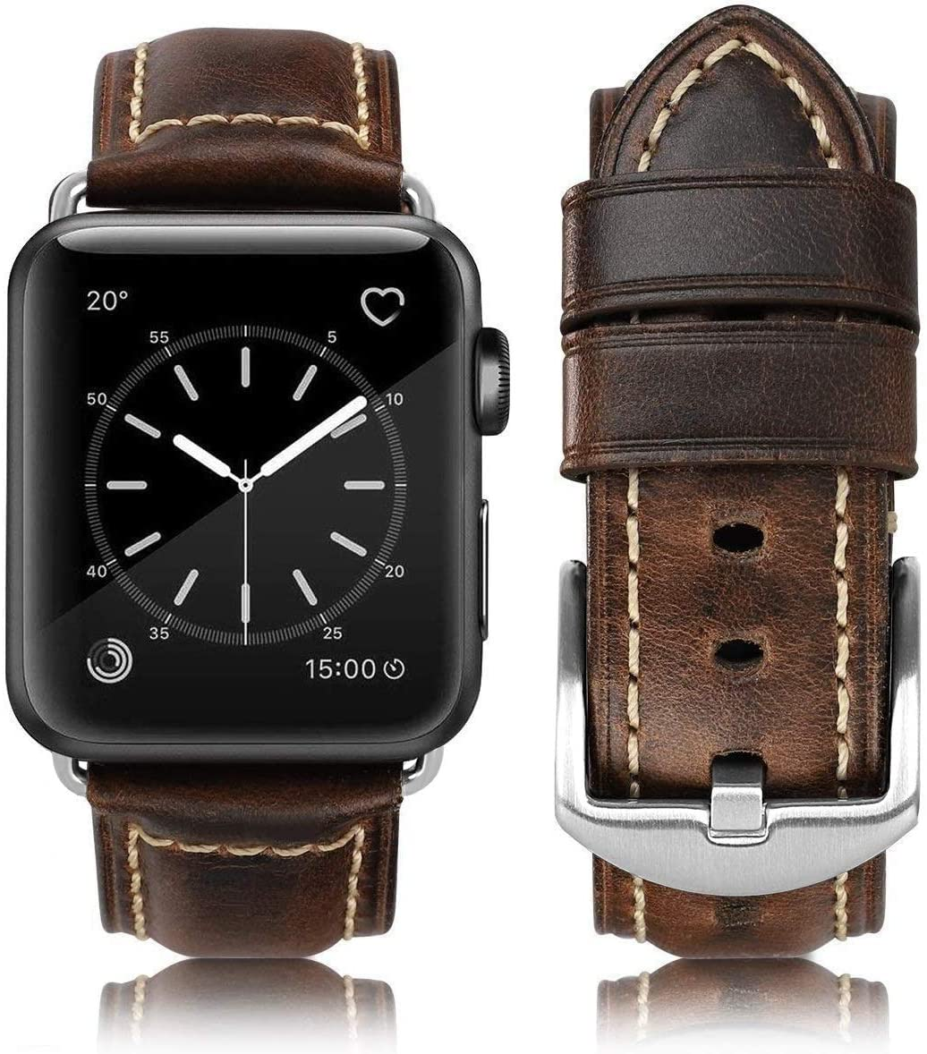 Compatible for apple Watch Band 42mm 44mm, Grain Leather Band Replacement Strap iWatch Series 6/5/4,Series 3,Series 2,Series 1,Sport, Edition.New Retro Leather (Retro Coffee+silver Buckle, 42mm 44mm)