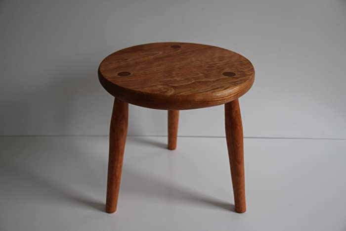 Astonishing Amazon Com Cherry Wood Stool 3 Legged Stool Milking Stool Pabps2019 Chair Design Images Pabps2019Com
