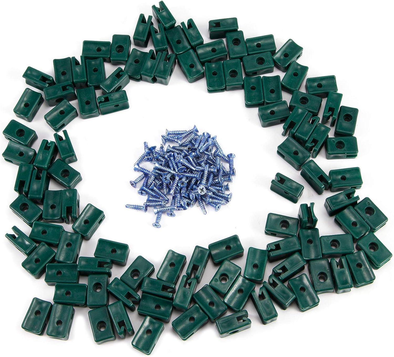 50 Grün Kunststoff Spanndrahthalter mit Schraube Maschendraht Zaunspanner DE