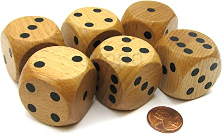Set Of 6 D6 Large Jumbo 30mm Rounded Wood Dice Wooden With Black Pips