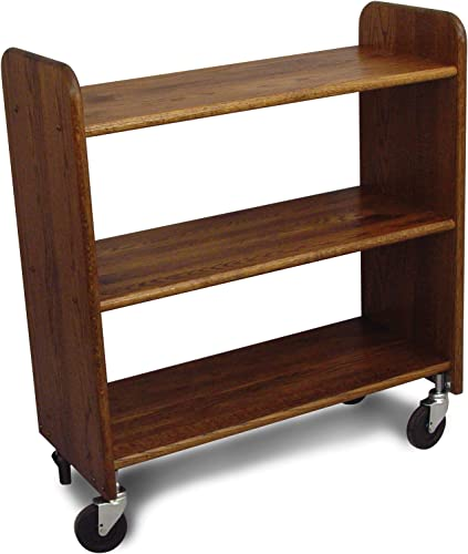 Catskill Craftsmen Library Book Truck with Flat Shelves, Walnut Stained Oak Grain