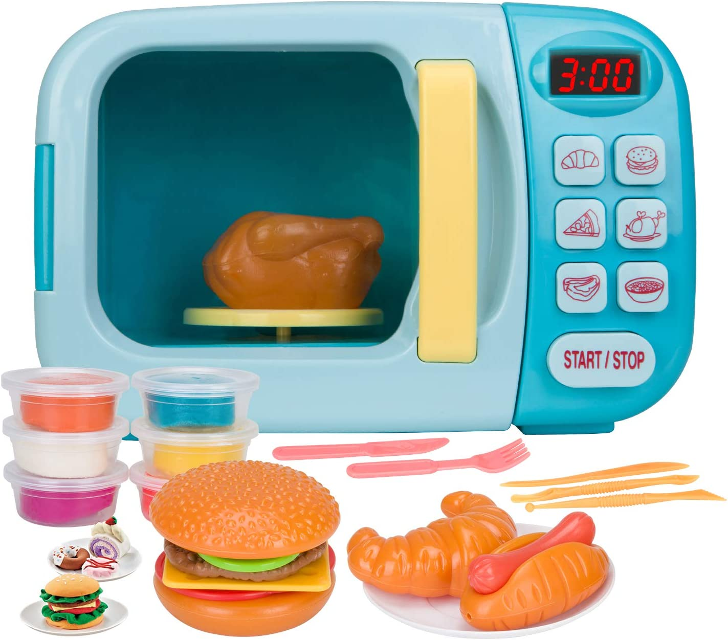 Vazussk Electronic Kitchen Toys Pretend Microwave Oven Play Set for Kids Toddlers Age 3 and up with 6Pcs Play Dough (Blue)