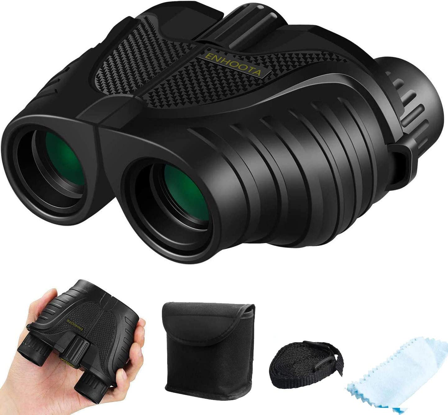 12×25 Binoculars with Low Light Night Vision, ENHOOTA Waterproof Large Eyepiece Binoculars for Adults Kids, Compact Easy Focus Binoculars for Bird Watching, Hunting, Outdoors Travel, Sightseeing