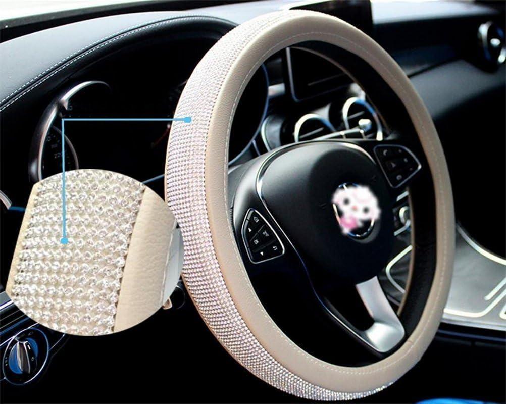 KANGTS Housse de volant de voiture universelle en cuir PU avec couronne de cystal et diamant 38,1 cm