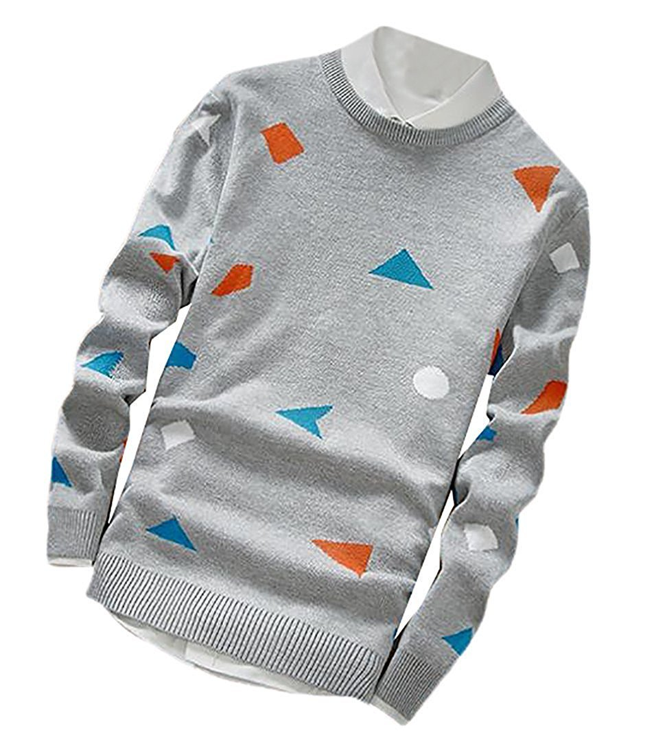 LOKOUO Fashion Mens Comfy Long Sleeve Soft Print Slim Fit Pullover Sweaters Light GraySmall