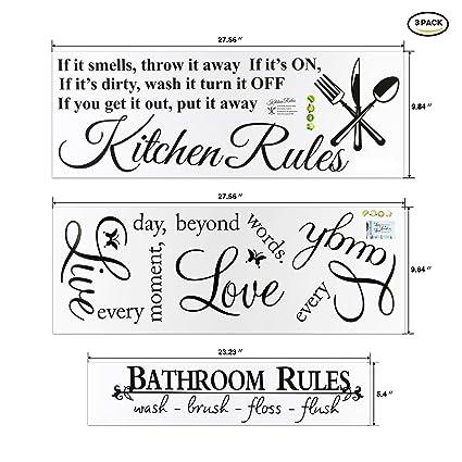 Home Decor Wall Art Stickers Bundle, Konsait Kitchen Rules/Live Every  Moment /Bathroom