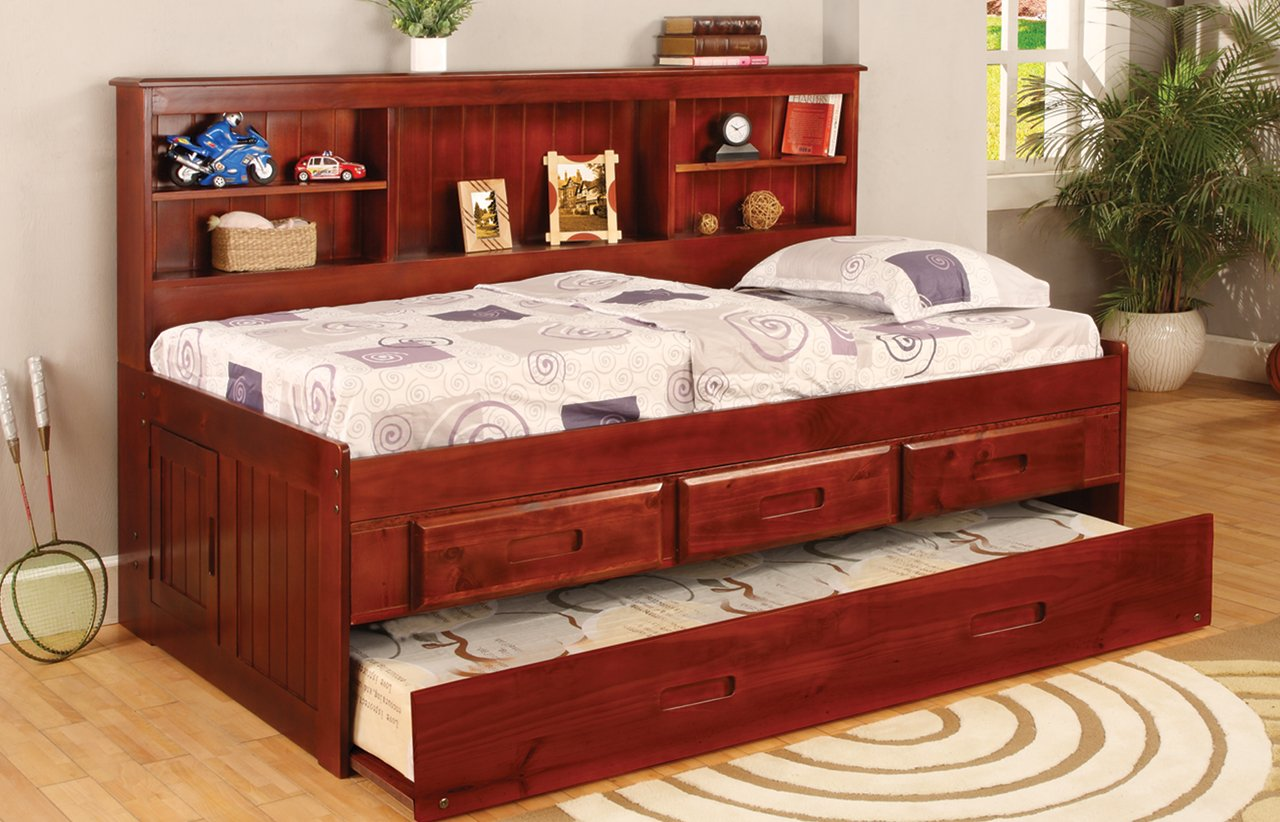 Amazon Com Twin Daybed Bookcase With  Drawers And Trundle Desk Hutch Chair And Bookshelf In Merlot Finish Kitchen Dining