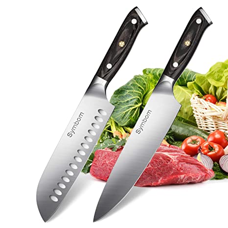 Symbom Juego de cuchillos de cocina con cuchillo Chef de 20 cm y cuchillo Santoku de 18 cm, cuchilla anti-corrosión y anti-deslustre extra afiladas, 2 ...