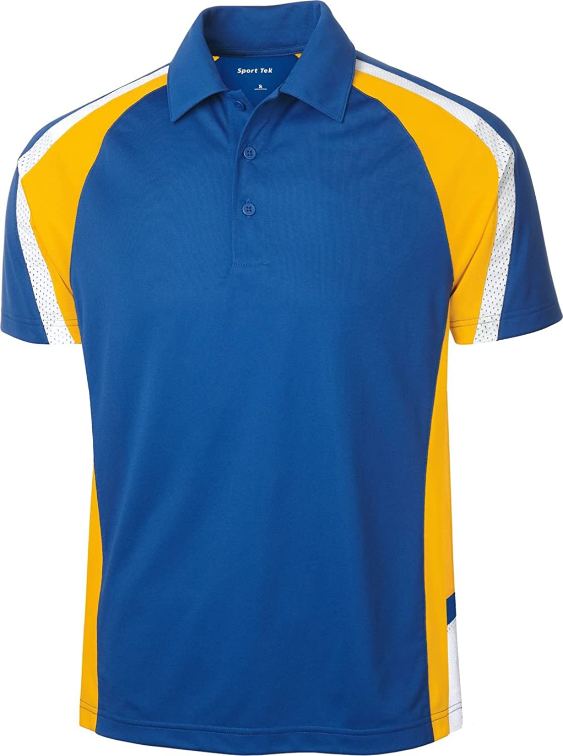 Sport-Tek Tricolor Polo Shirt ST654 L True Royal/Gold/White
