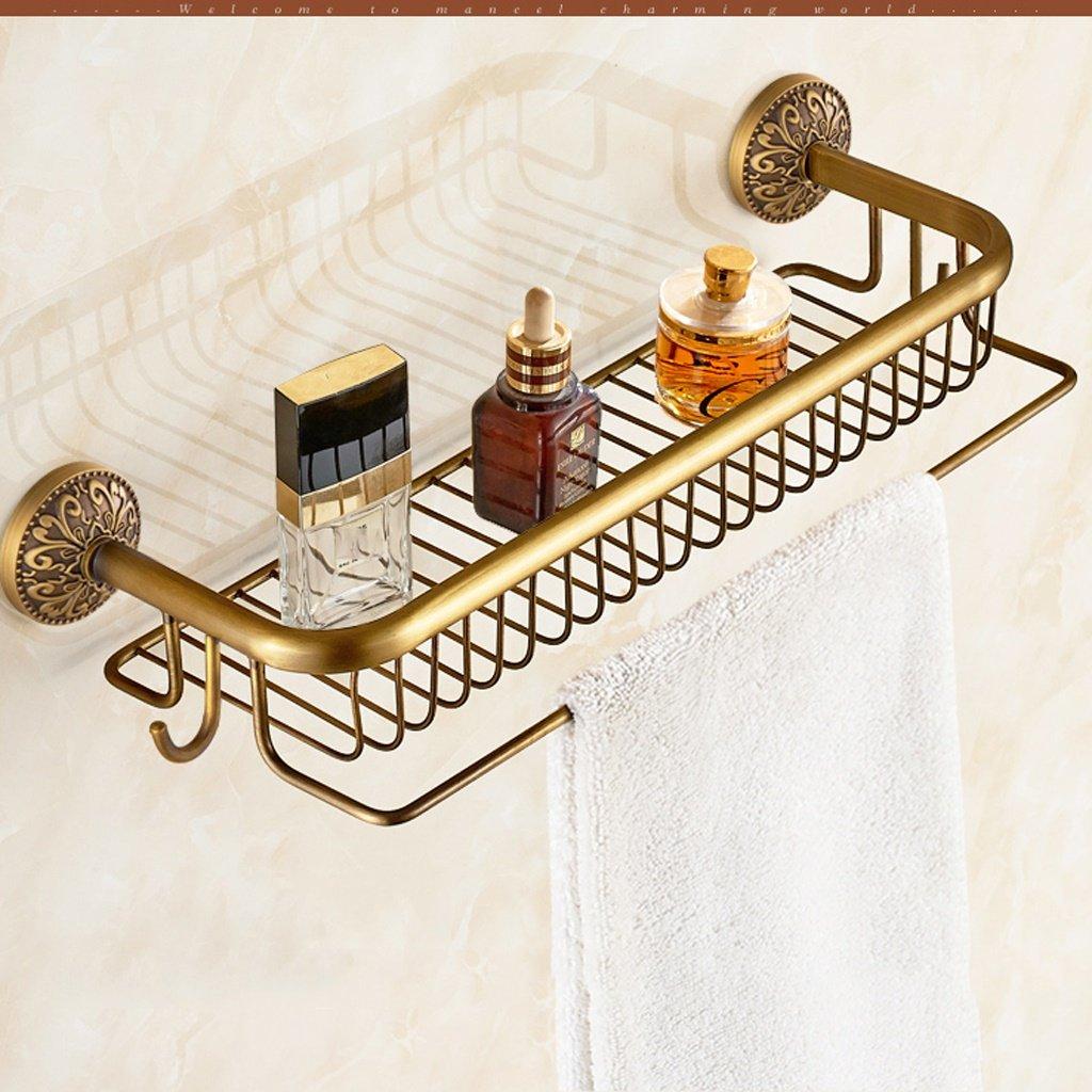 ALUPヨーロッパスタイルのレトロなバスルームラックすべての青銅の壁にマウントされた単一層の化粧品ラック B07CZBLF47
