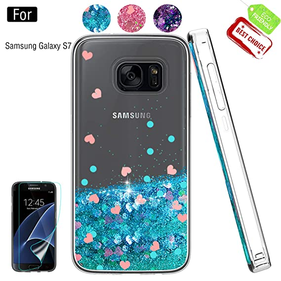 san francisco 7c75c 29137 Galaxy S7 Phone Case,Galaxy S7 Case with HD Screen Protector for Girls  Women,Atump Luxury Glitter Quicksand Clear TPU Protective Phone Case for ...