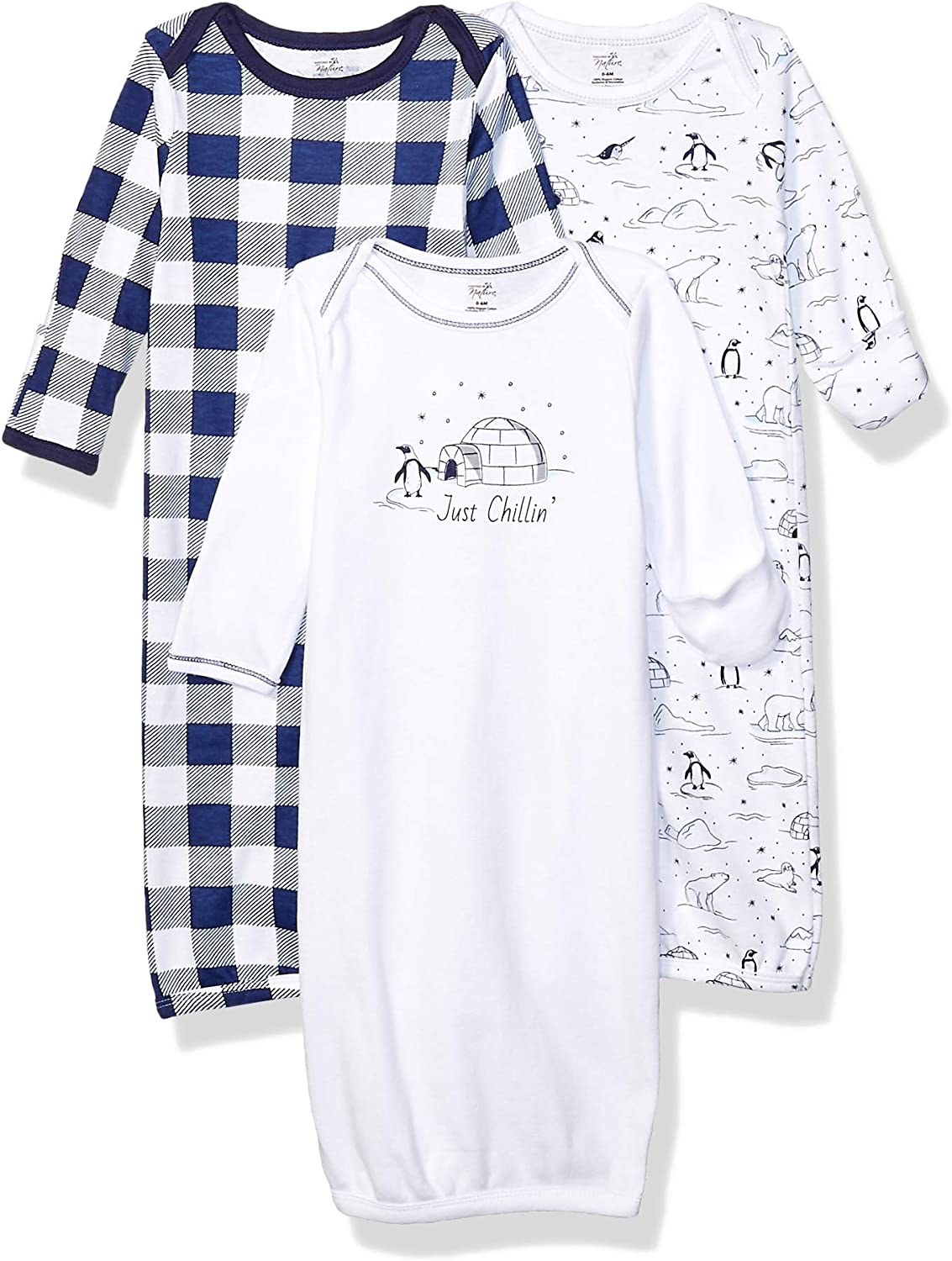 Bird Touched By Nature Girl Organic Cotton Sleep Gown 3-Pack