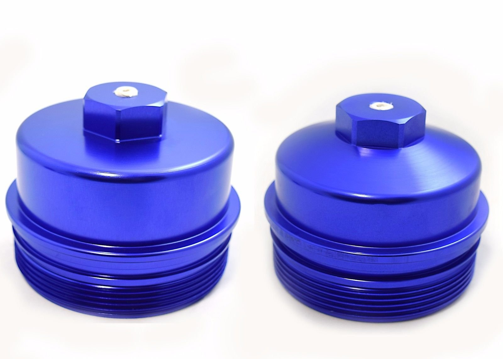 Billet Aluminum Fuel & Oil Filter Caps 2008-2010 Ford 6.4L Powerstroke Diesel by Rudy's Diesel