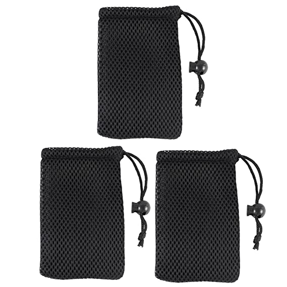 80dd7bc1855 Amazon.com  uxcell Black Cell Phone Nylon Mesh Drawstring Pouch Bags ...