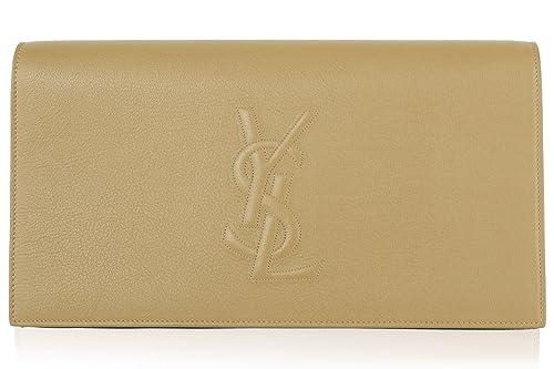 d91117dd08013 YSL Yves Saint Laurent Women s Leather Large Belle de Jour Clutch - Beige