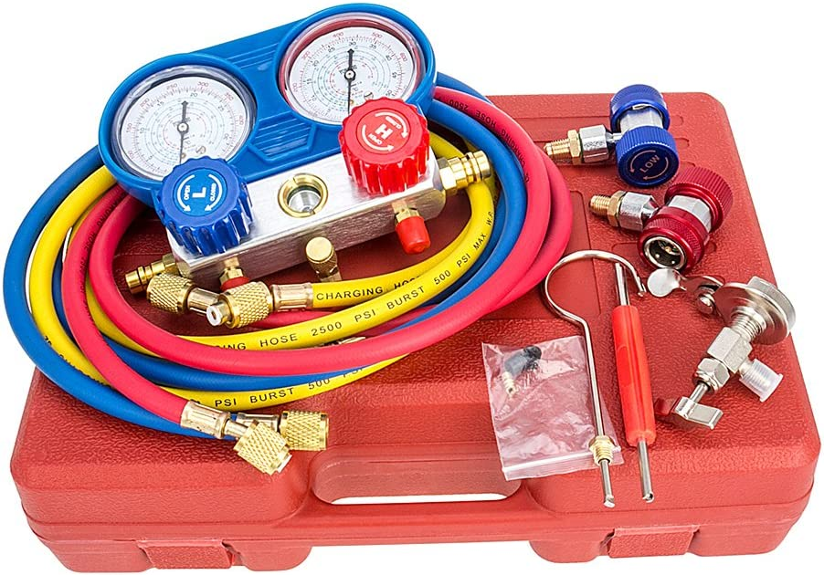 A//C AC Manifold Gauge Set R134A R12 R22 Refrigeration Kit Brass 3FT Colored Hose