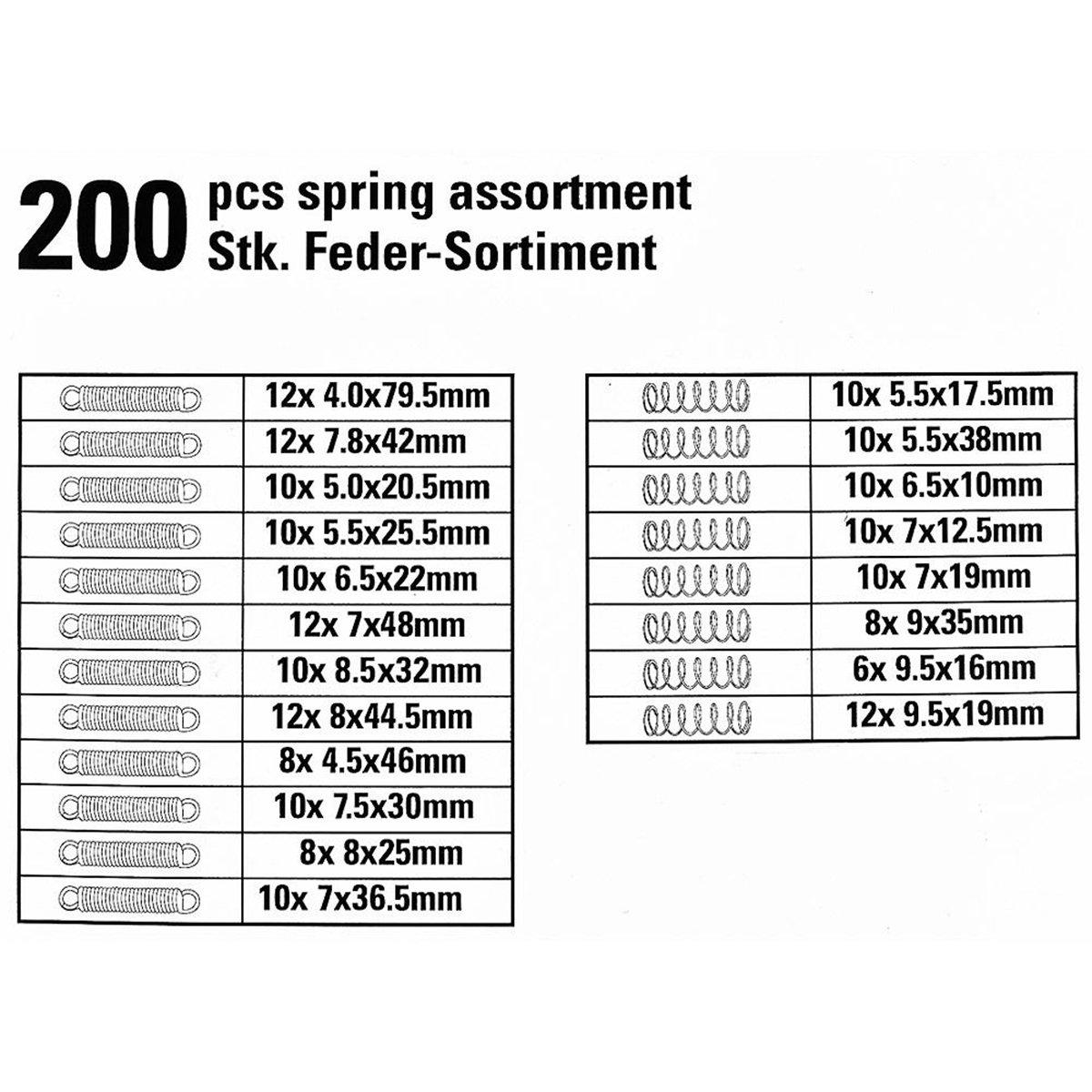 UEETEK 200PCS Spring Rate Assortment Spiral Galvanized Spring Set Extension Spring