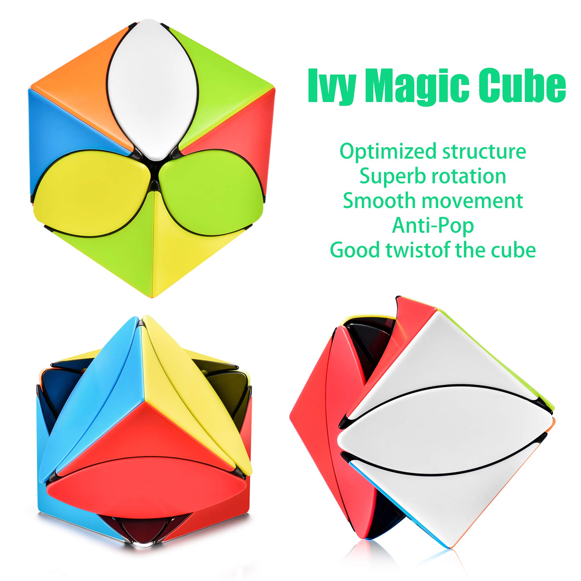 Magic Cube Set - 3x3 Skewb Penrose Cube Puzzle, Ivy Cube, Cylinder Speed Cube - Stickerless Bundle Toys Gifts for Kids