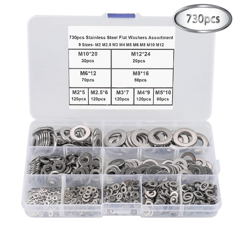 HanTof 304 Stainless Steel Flat Washers Assortment Washers Hardware Set 730 Pieces 9 Sizes M2 M2.5 M3 M4 M5 M6 M8 M10 M12