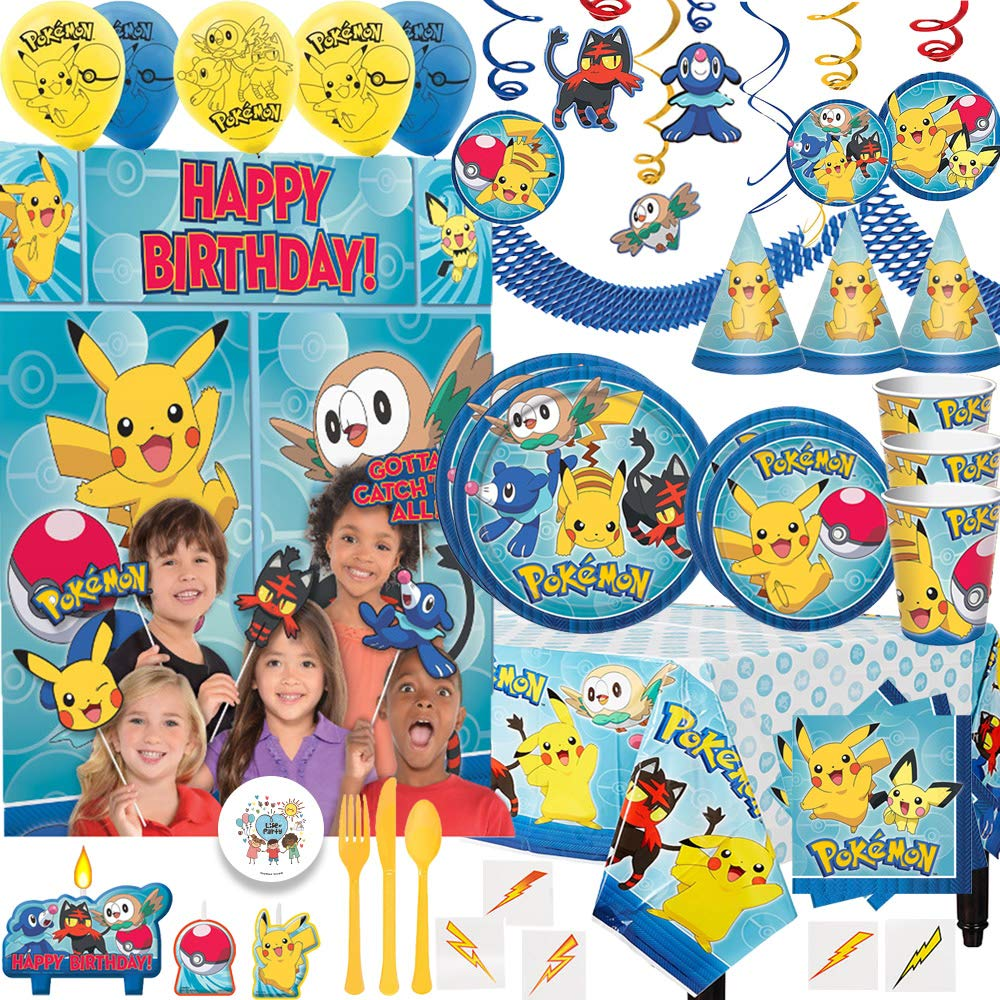 MEGA Pokemon Birthday Party Pack For 16 With Plates, Cups, Napkins, Tablecover, Swirls, Balloons, Scene Setter, Photo Props, Candles, Hats, Cutlery, Garland, Lightning Bolt Tattoos,and Exclusive Pin