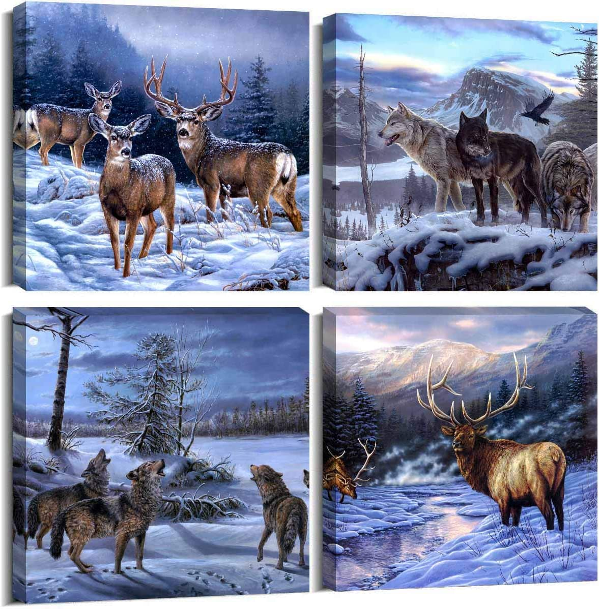 ArtHome520 Blue Animal Deer Pictures Home Decor Winter Wolf Canvas Printed Oil Painting Wall Art for Living Dining Room Decorations Modern Framed 4 Panel (12''x12''x4pcs)