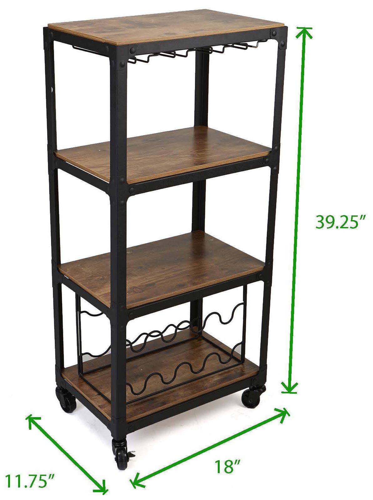 Mind Reader Mobile Kitchen Cart with Wine Rack and Stemware Storage, Black