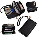 GX-LV Multi-purpose Multifunction Women's Fashion Luxury Ultra-large Capacity Cellphone Leather Bag Purse and Two Layers Zipper Design Clutch Purse Wallet Pouch Case with Key Holder Keychain Key Case and Inner Multiple Credit Card Holders Slots for Apple Iphone 4 4s Iphone 5 Iphone 5s 5c Samsung Galaxy S3 S4 HTC Blackberry MP3 with Detachable Wristlet Strap (Black)