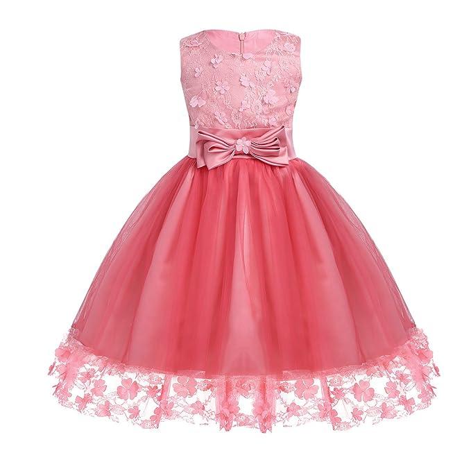 YiZYiF Vestido Largo de Boda Niñas Vestido Princesa Flores ...