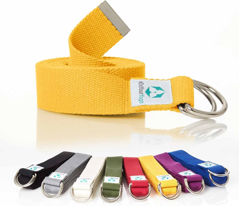 DoYourYoga Cinturón de Yoga »Madira« / Correa para Yoga de algodón 100% con un Cierre Estable en Forma de Anillas metálicas / 250 x 3,8 cm/Amarillo: Amazon.es: Deportes y aire libre