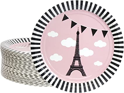 Party in Paris 9 Inch Plates 8 Pack Girls Birthday Party Decoration