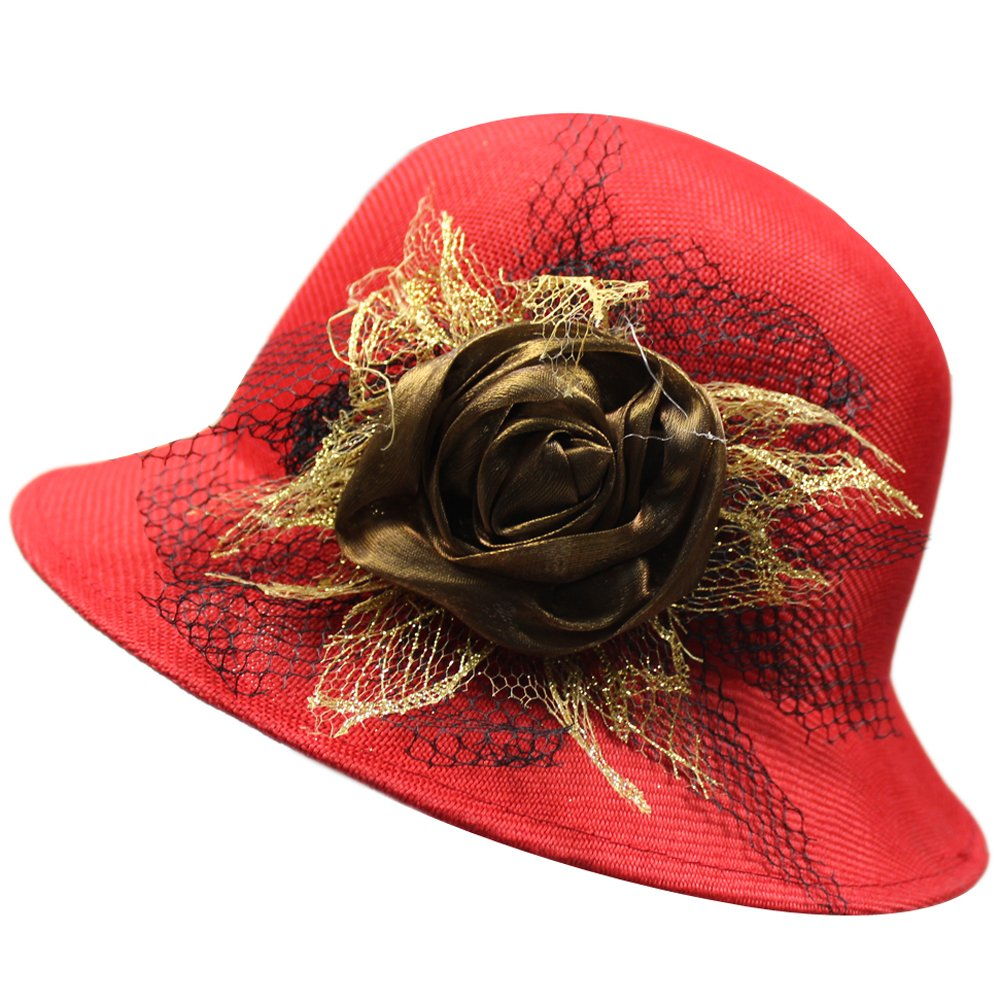 b028fa12671 Womens Breathable Linen Flower Lace Cloche Sun UV Travel Bucket Boonie Top  Hat at Amazon Women s Clothing store