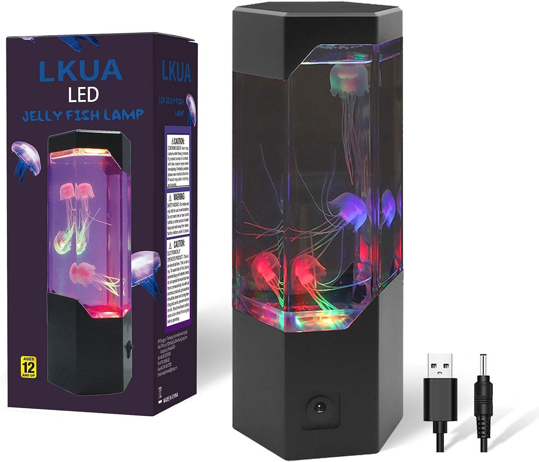 Jellyfish Light, Sensory Synthetic Jelly Fish Tank Aquarium Mood Lamp, Mini Desktop Aquarium Tower Electric Colorful LED Jellyfish Lamp, Home Office Gift for Men Women Kids