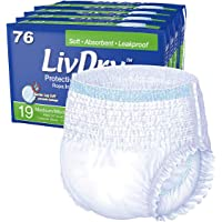 LivDry Adult Diapers | Medium Protective Incontinence Underwear | Super Absorbent 76 Count | Regular/Daytime