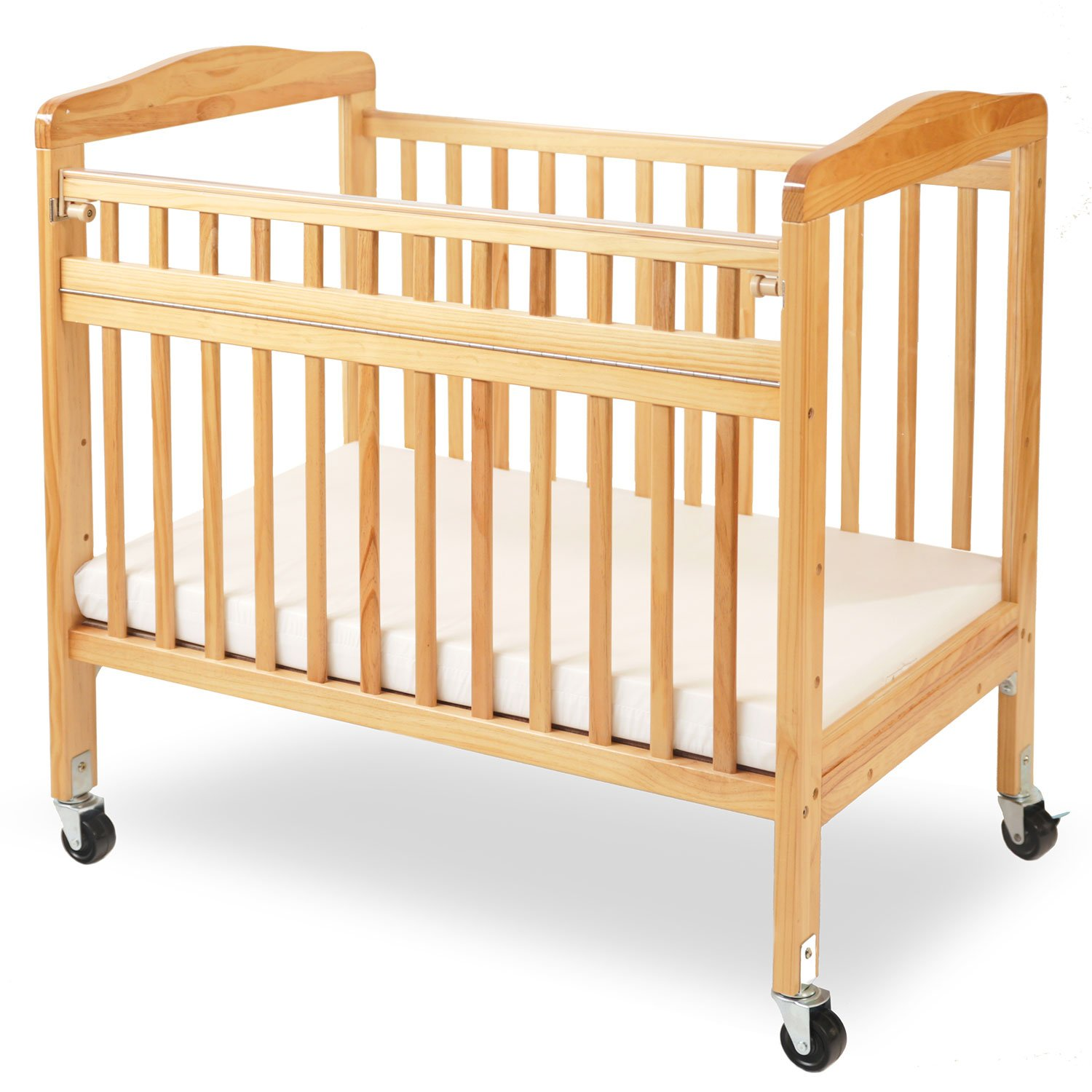 LA Baby Compact Non-Folding Wooden Window Crib with Safety Gate, Natural by L.A. Baby